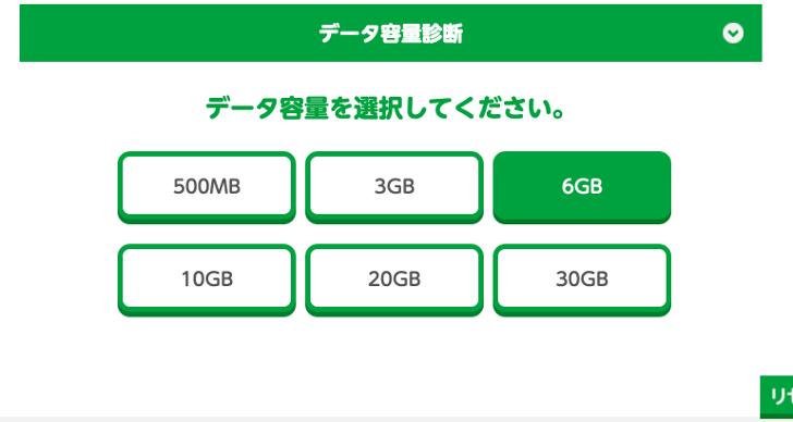 mineoのデータ容量を選択