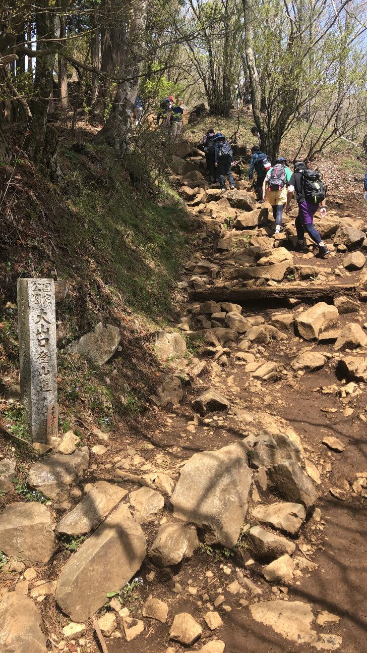 大山登山ルートの19丁目付近